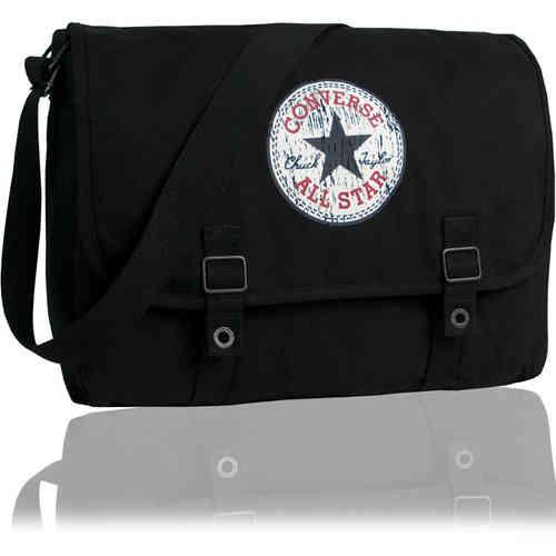 CONVERSE Umhängetasche Schultertasche Messenger VINTAGE Schultasche  Überschlagtasche Tasche Schwarz 24fa2ed97c8a6