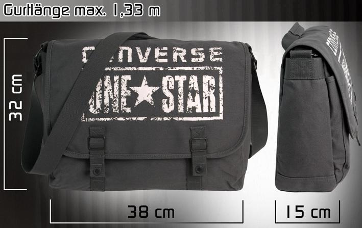 ... CONVERSE Umhängetasche Schultertasche Messenger ONE STAR Schultasche  Überschlagtasche Tasche Grau 700176ff37695