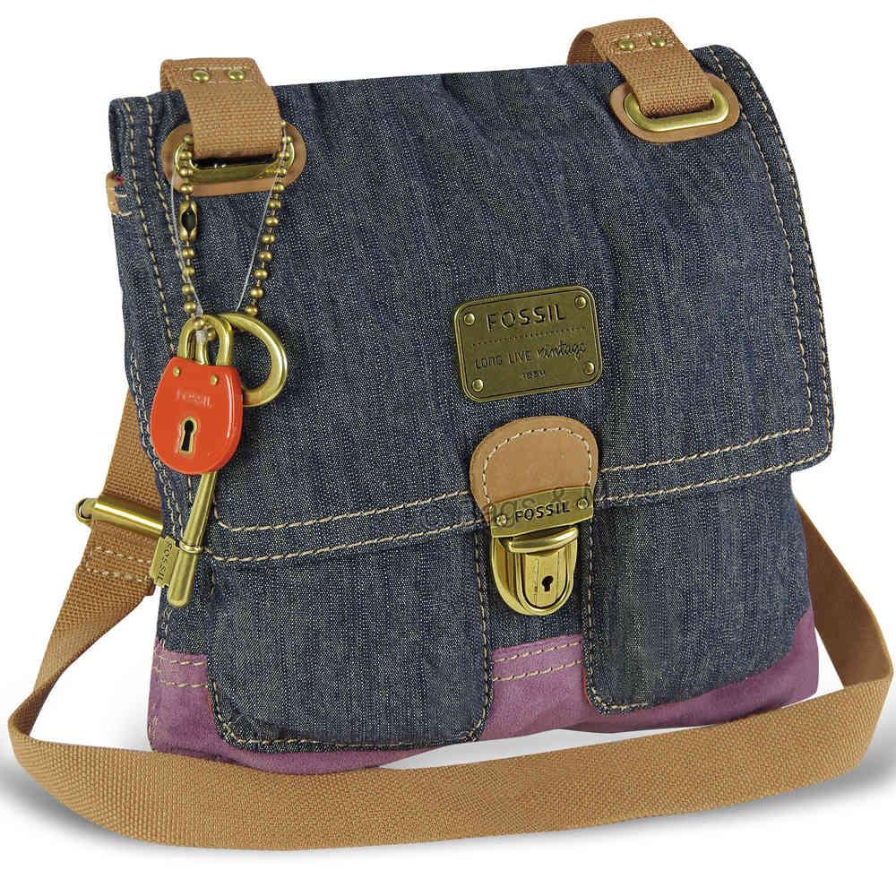 9533d27008a57 FOSSIL Handtasche JENNER FABRIC FLAP CROSSBODY Schultertasche Umhängetasche  Damen Tasche Navy
